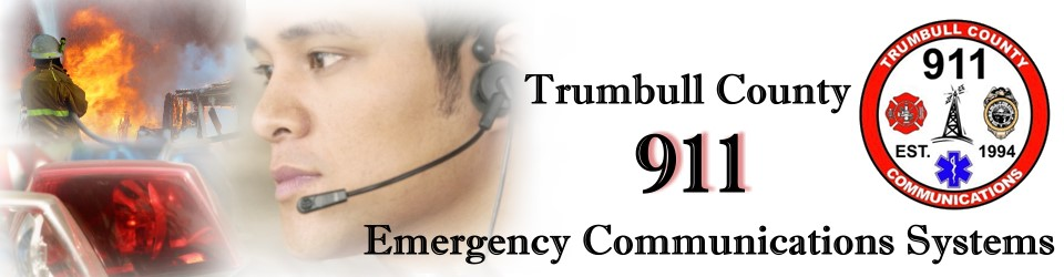 Photos of emergency situations, fire, sirens, dispatcher, along with Trumbull County 911 Emergency Communications Systems.